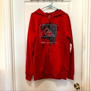 Quiksilver red Zip up Hoodie L